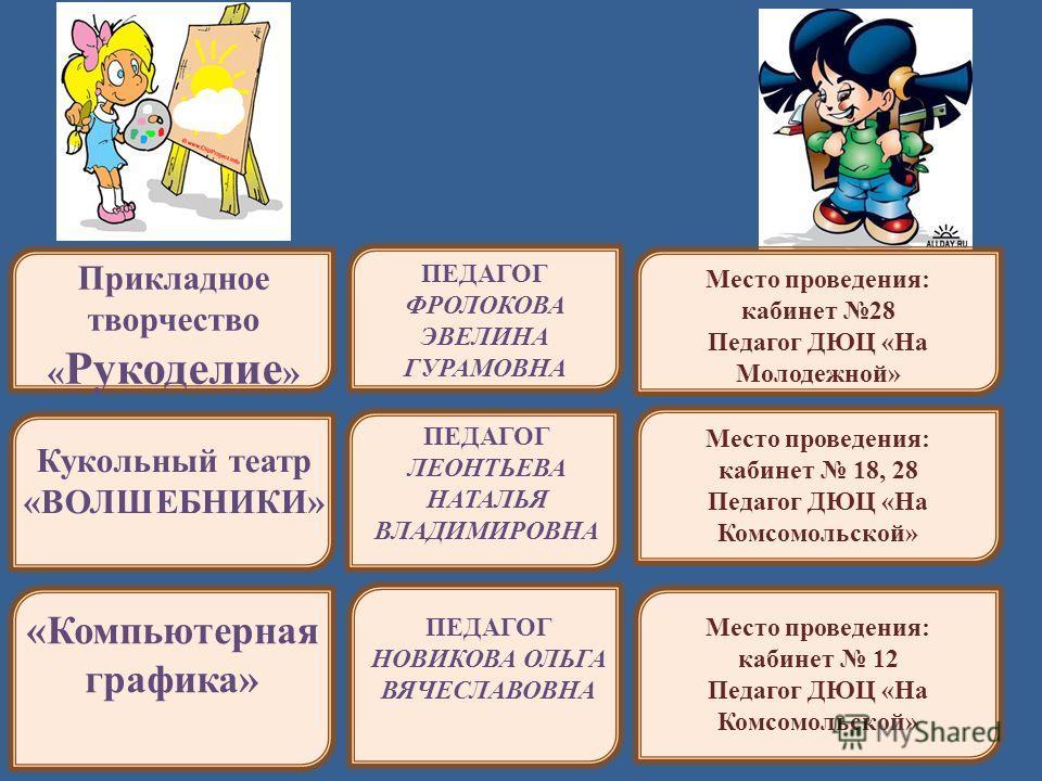 ПЕДАГОГ ФРОЛОКОВА ЭВЕЛИНА ГУРАМОВНА Прикладное творчество « Рукоделие » Кукольный театр «ВОЛШЕБНИКИ» ПЕДАГОГ ЛЕОНТЬЕВА НАТАЛЬЯ ВЛАДИМИРОВНА «Компьютерная графика» ПЕДАГОГ НОВИКОВА ОЛЬГА ВЯЧЕСЛАВОВНА Место проведения: кабинет 28 Педагог ДЮЦ «На Молоде