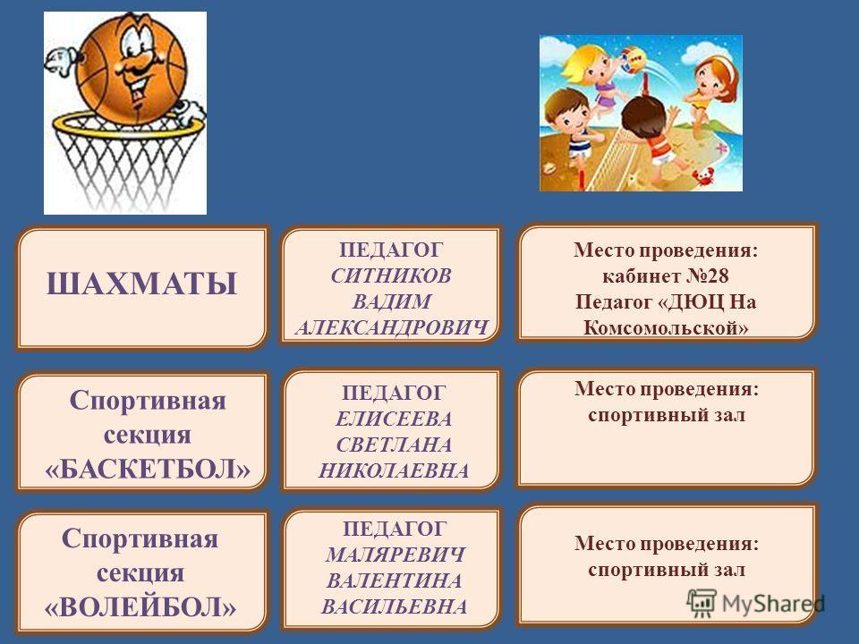 ПЕДАГОГ СИТНИКОВ ВАДИМ АЛЕКСАНДРОВИЧ ШАХМАТЫ Спортивная секция «БАСКЕТБОЛ» ПЕДАГОГ ЕЛИСЕЕВА СВЕТЛАНА НИКОЛАЕВНА Спортивная секция «ВОЛЕЙБОЛ» ПЕДАГОГ МАЛЯРЕВИЧ ВАЛЕНТИНА ВАСИЛЬЕВНА Место проведения: кабинет 28 Педагог «ДЮЦ На Комсомольской» Место пров