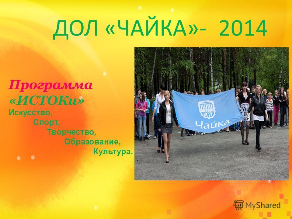 ДОЛ «ЧАЙКА»- 2014 Программа «ИСТОКи» Искусство, Спорт, Творчество, Образование, Культура.