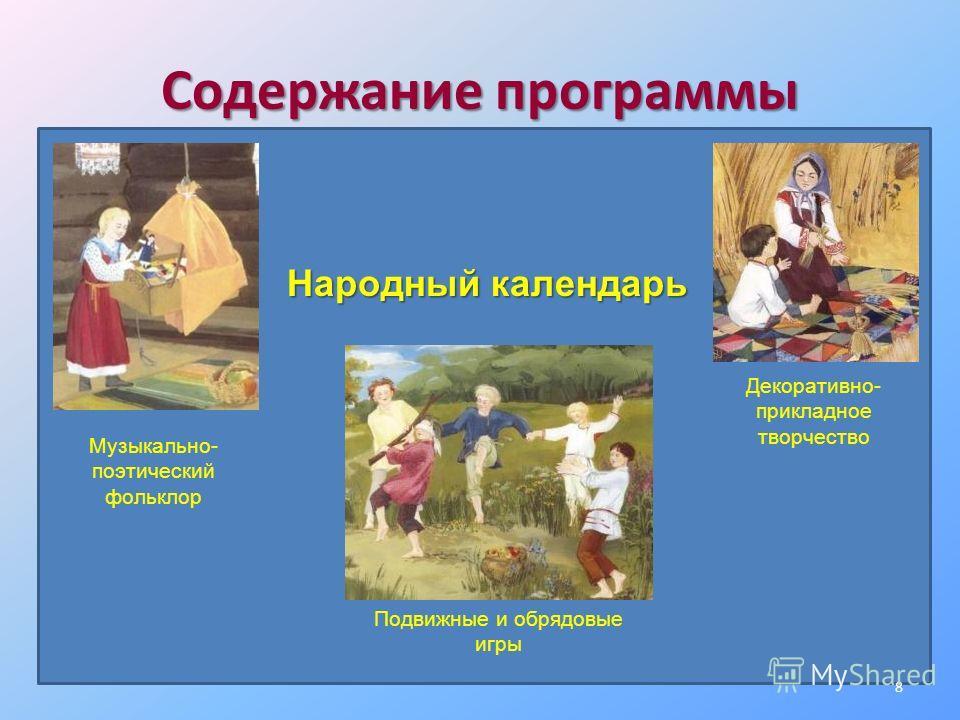 Содержание программы Народный календарь Музыкально- поэтический фольклор Подвижные и обрядовые игры Декоративно- прикладное творчество 8
