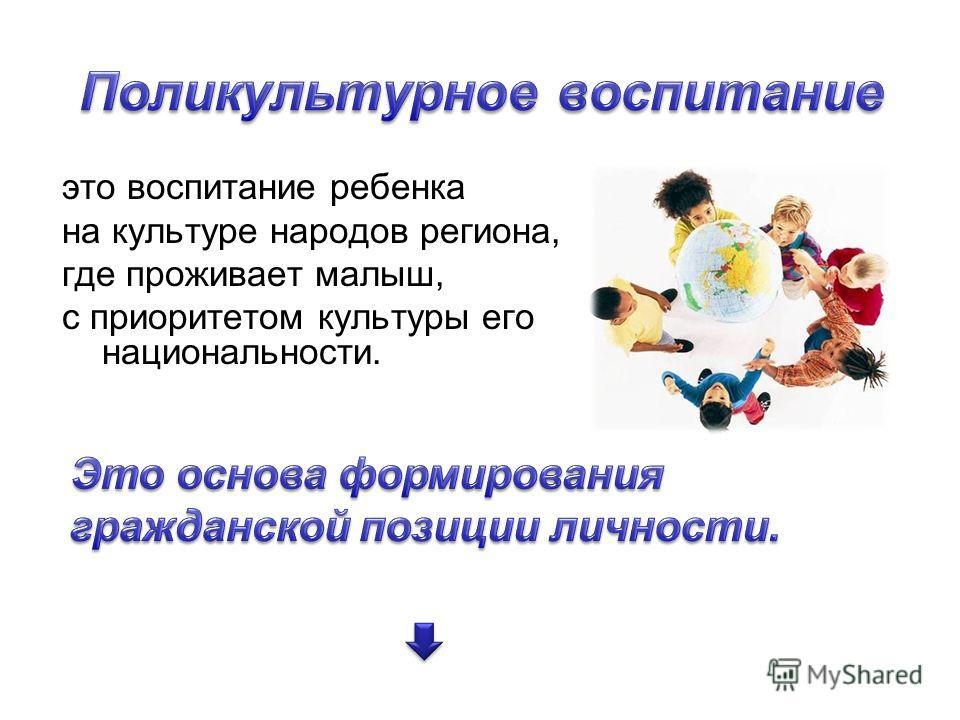 это воспитание ребенка на культуре народов региона, где проживает малыш, с приоритетом культуры его национальности.