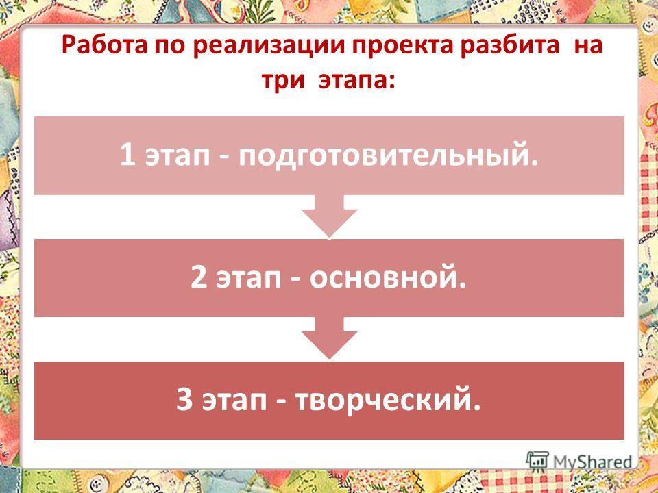 Работа по реализации проекта разбита на три этапа: 3 этап - творческий. 2 этап - основной. 1 этап - подготовительный.