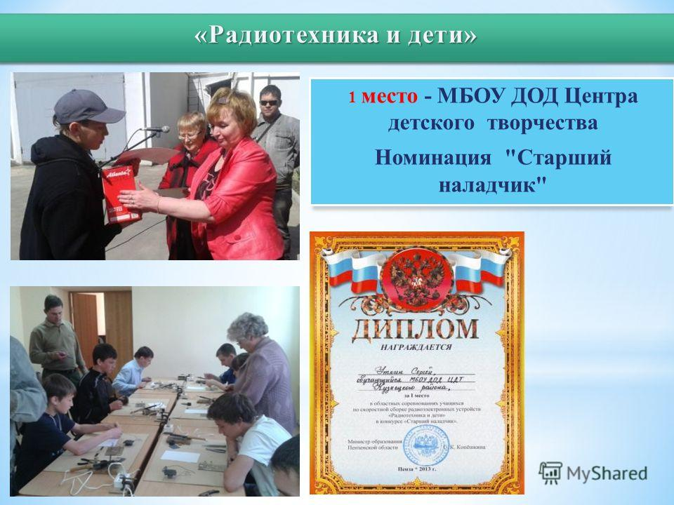 1 место - МБОУ ДОД Центра детского творчества Номинация Старший наладчик