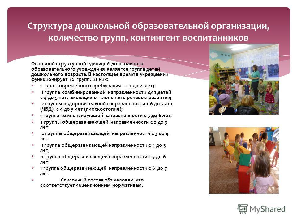 Основной структурной единицей дошкольного образовательного учреждения является группа детей дошкольного возраста. В настоящее время в учреждении функционирует 12 групп, из них: 1 кратковременного пребывания – с 1 до 2 лет; 1 группа комбинированной на