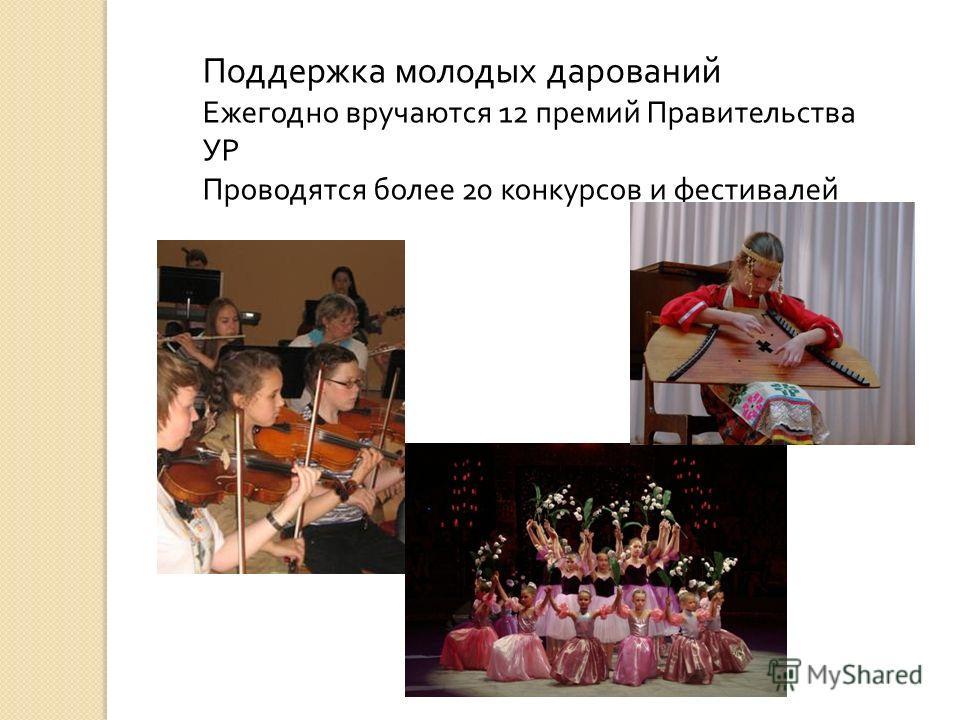Поддержка молодых дарований Ежегодно вручаются 12 премий Правительства УР Проводятся более 20 конкурсов и фестивалей