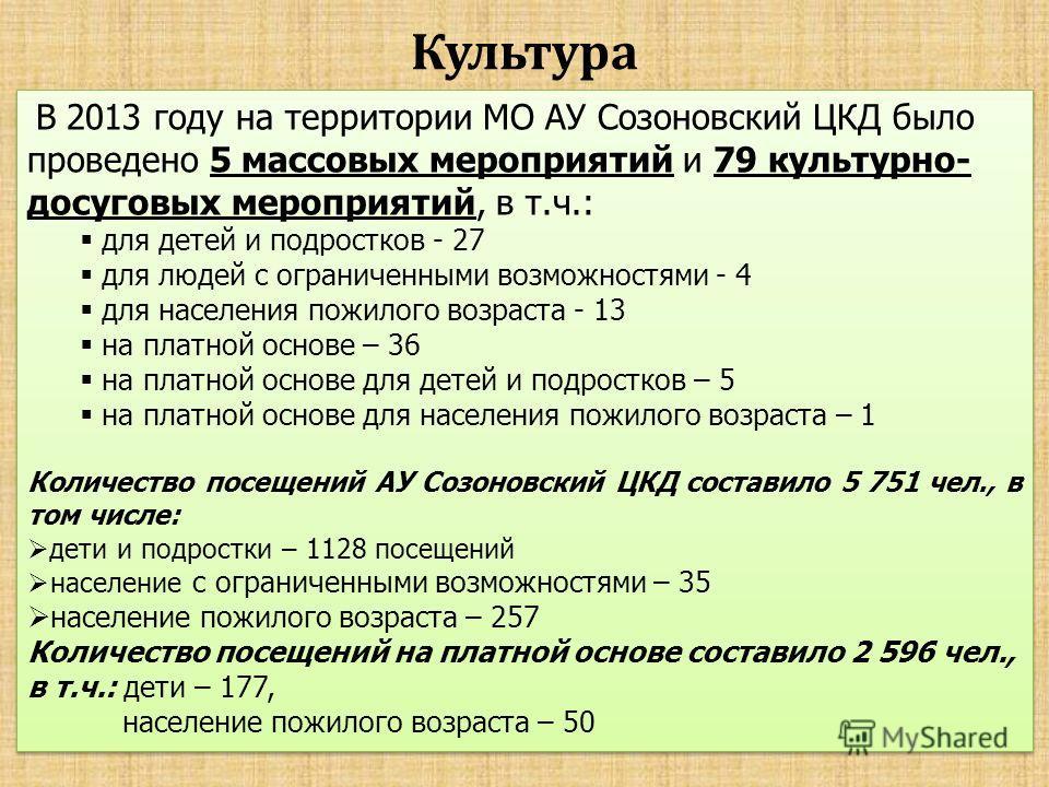 Культура В 2013 году на территории МО АУ Созоновский ЦКД было проведено 5 массовых мероприятий и 79 культурно- досуговых мероприятий, в т.ч.: для детей и подростков - 27 для людей с ограниченными возможностями - 4 для населения пожилого возраста - 13