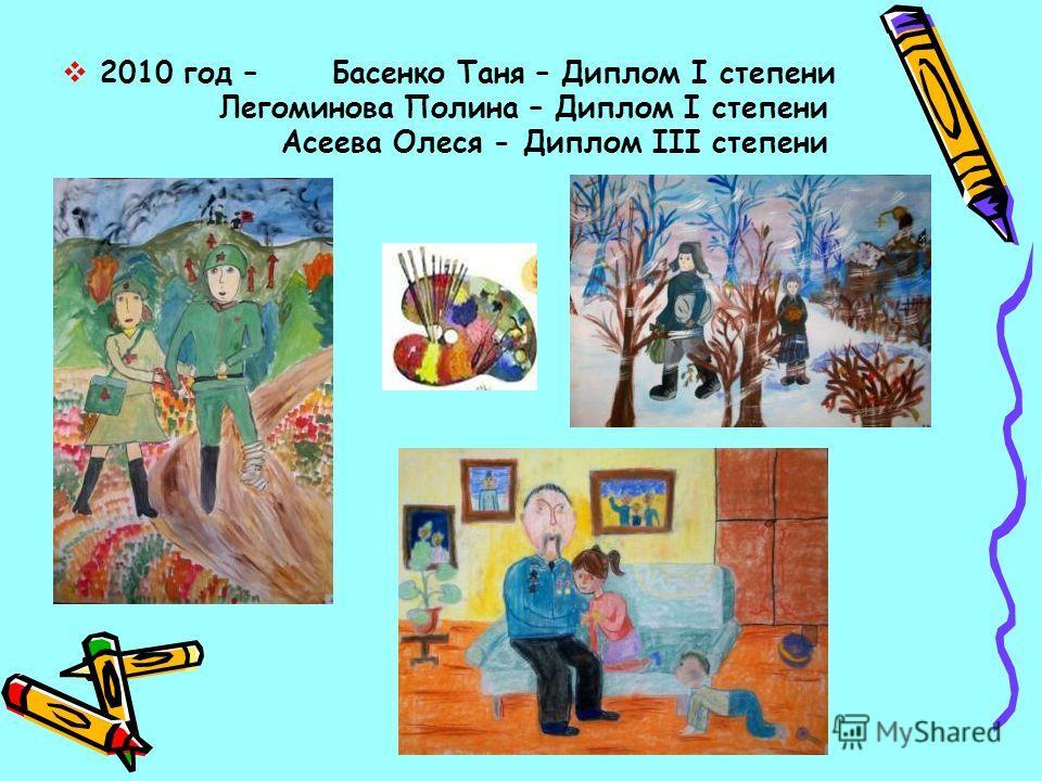 2010 год – Басенко Таня – Диплом I степени Легоминова Полина – Диплом I степени Асеева Олеся - Диплом III степени