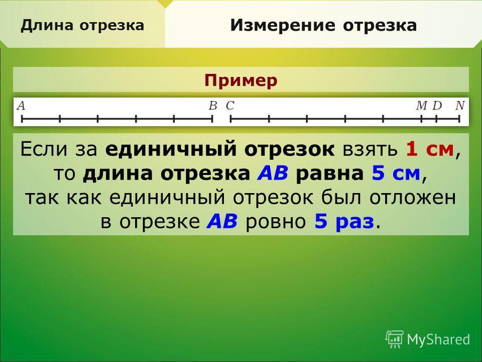 Пример Длина отрезка Измерение отрезка Если за единичный отрезок взять 1 см, то длина отрезка AB равна 5 см, так как единичный отрезок был отложен в отрезке AB ровно 5 раз.