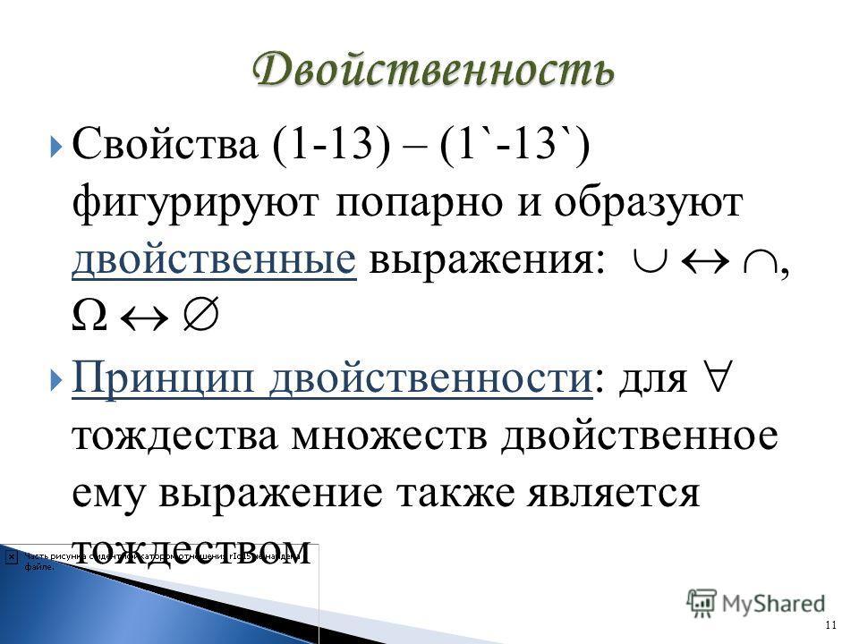 Свойства (1-13) – (1`-13`) фигурируют попарно и образуют двойственные выражения:, Принцип двойственности: для тождества множеств двойственное ему выражение также является тождеством 11