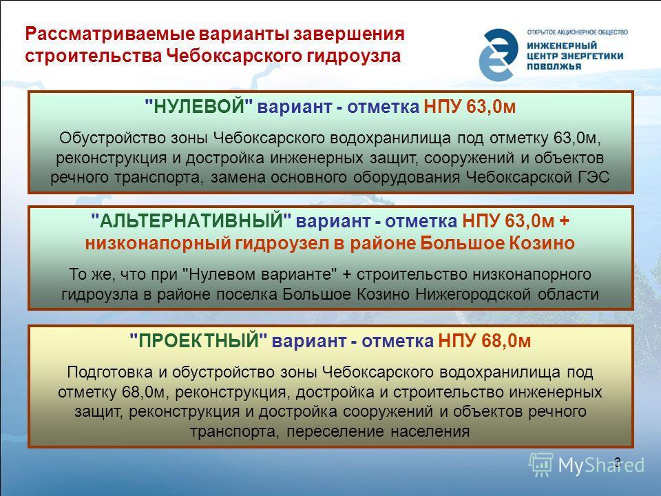 Рассматриваемые варианты завершения строительства Чебоксарского гидроузла 3