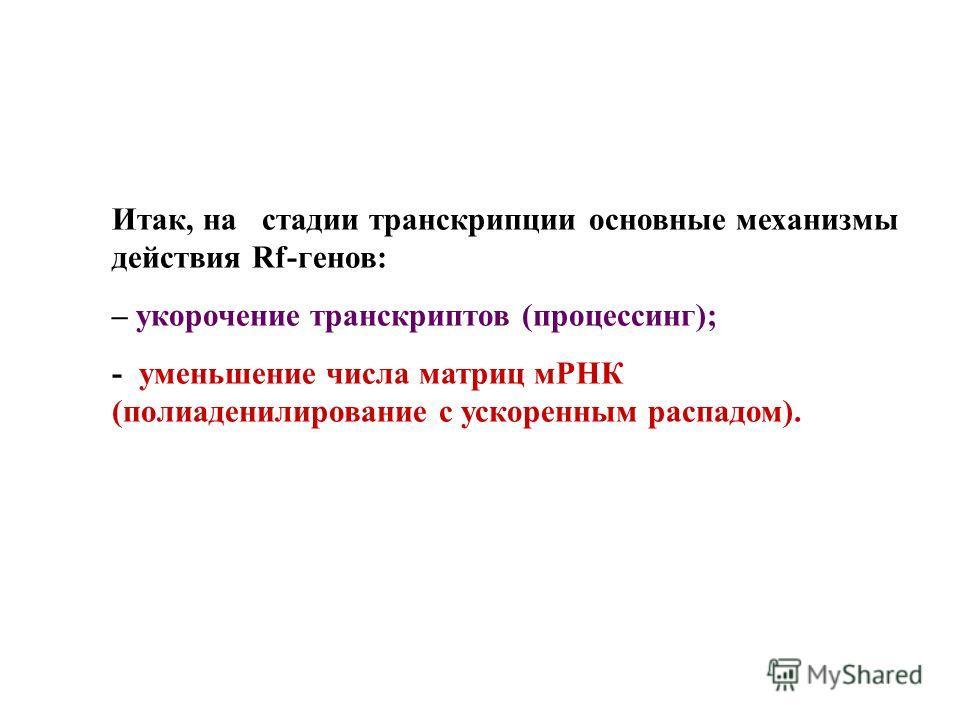 Итак, на стадии транскрипции основные механизмы действия Rf-генов: – укорочение транскриптов (процессинг); - уменьшение числа матриц мРНК (полиаденилирование с ускоренным распадом).