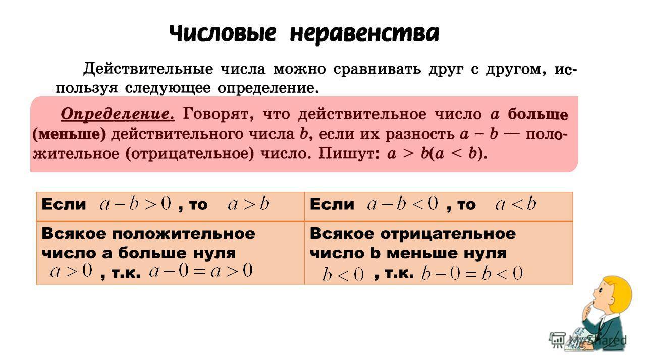 Если, то Всякое положительное число а больше нуля, т.к. Всякое отрицательное число b меньше нуля, т.к.