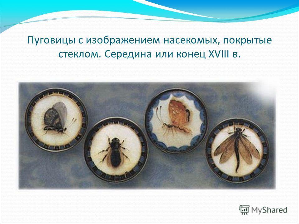 Пуговицы с изображением насекомых, покрытые стеклом. Середина или конец XVIII в.