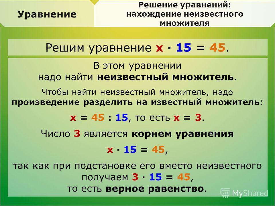 Уравнение Решение уравнений: нахождение неизвестного множителя В этом уравнении надо найти неизвестный множитель. Чтобы найти неизвестный множитель, надо произведение разделить на известный множитель: x = 45 : 15, то есть x = 3. Число 3 является корн