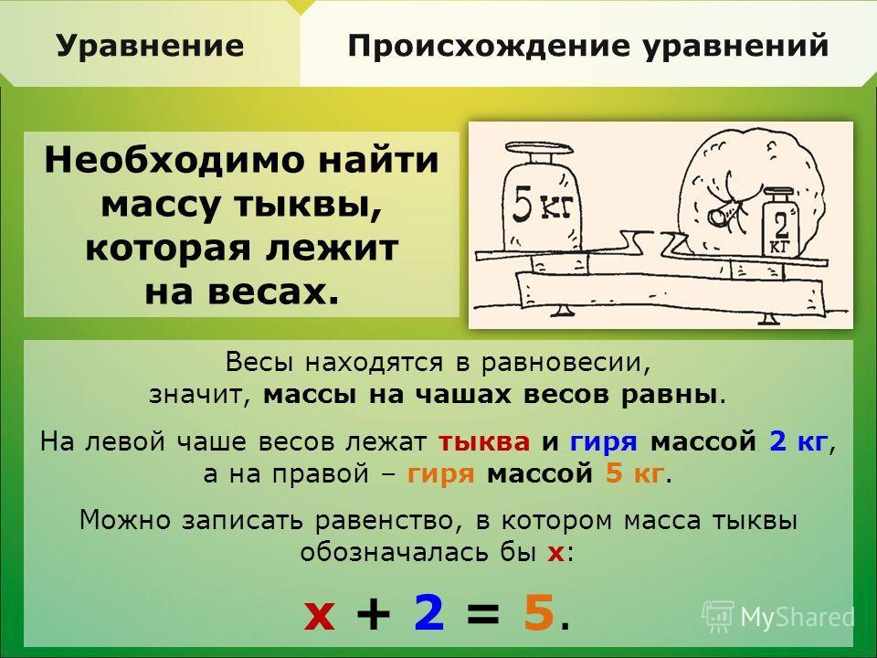 Уравнение Происхождение уравнений Необходимо найти массу тыквы, которая лежит на весах. Весы находятся в равновесии, значит, массы на чашах весов равны. На левой чаше весов лежат тыква и гиря массой 2 кг, а на правой – гиря массой 5 кг. Можно записат