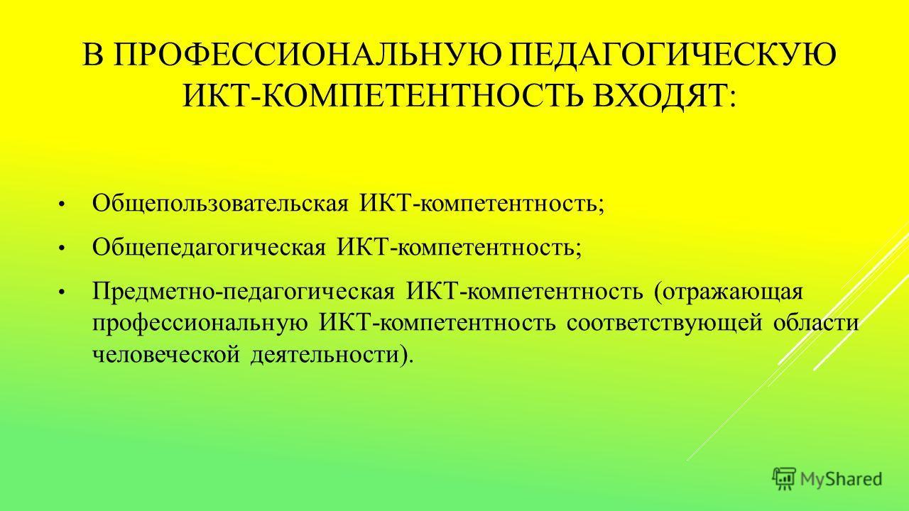 В ПРОФЕССИОНАЛЬНУЮ ПЕДАГОГИЧЕСКУЮ ИКТ-КОМПЕТЕНТНОСТЬ ВХОДЯТ: Общепользовательская ИКТ-компетентность; Общепедагогическая ИКТ-компетентность; Предметно-педагогическая ИКТ-компетентность (отражающая профессиональную ИКТ-компетентность соответствующей о