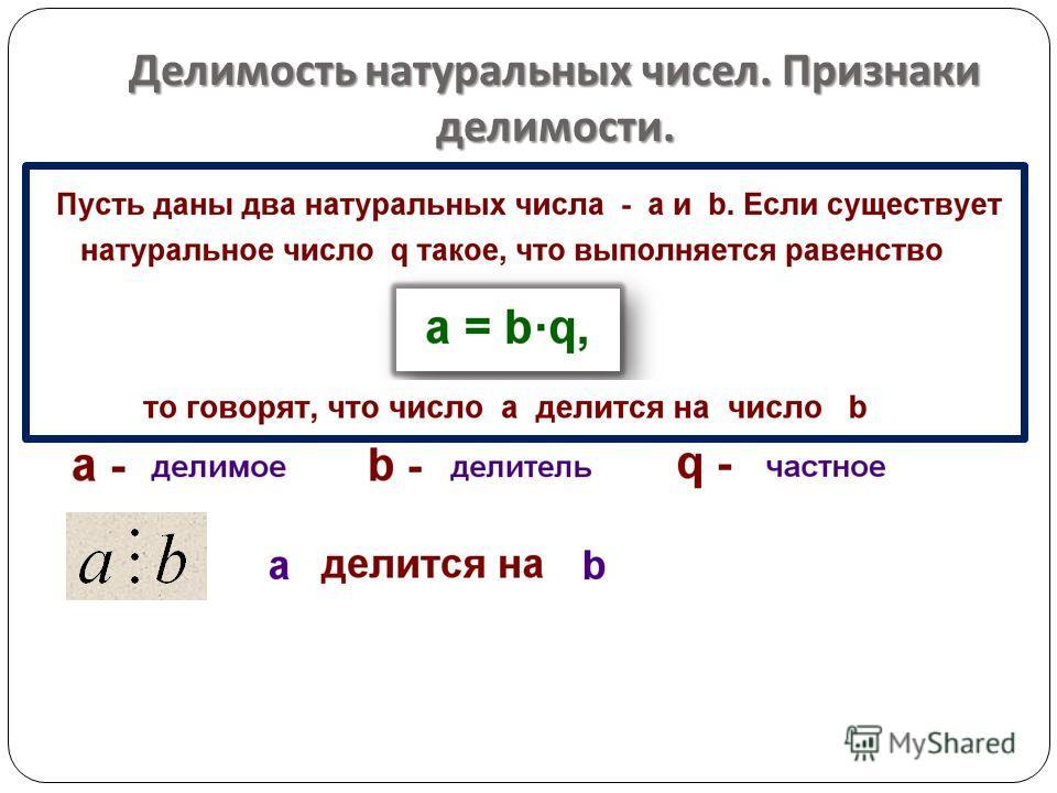 Делимость натуральных чисел. Признаки делимости.