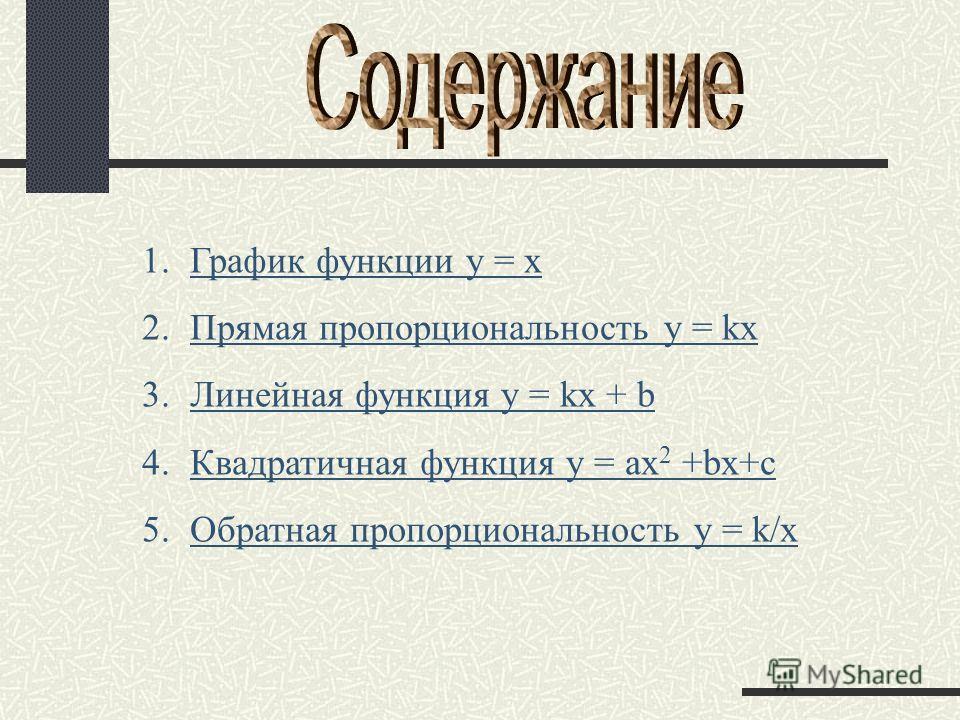 1. График функции y = x График функции y = x 2. Прямая пропорциональность y = kx Прямая пропорциональность y = kx 3. Линейная функция y = kx + b Линейная функция y = kx + b 4. Квадратичная функция y = ax 2 +bx+c Квадратичная функция y = ax 2 +bx+c 5.