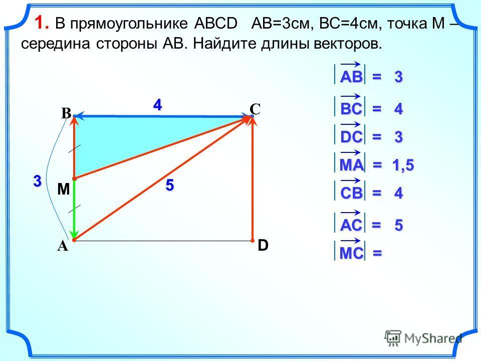 С А В D 4 3 АВ = 3 ВC = 4 DС = 3 MА = 1,5 СВ = 4 АС = 5 5 МC = M 1. В прямоугольнике АВСD АВ=3 см, ВС=4 см, точка М – середина стороны АВ. Найдите длины векторов.