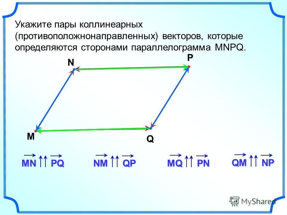 Укажите пары коллинеарныййейх (противоположно направленных) векторов, которые определяются сторонами параллелограмма MNPQ. M N P Q MNPQNMQPMQPN QMNP