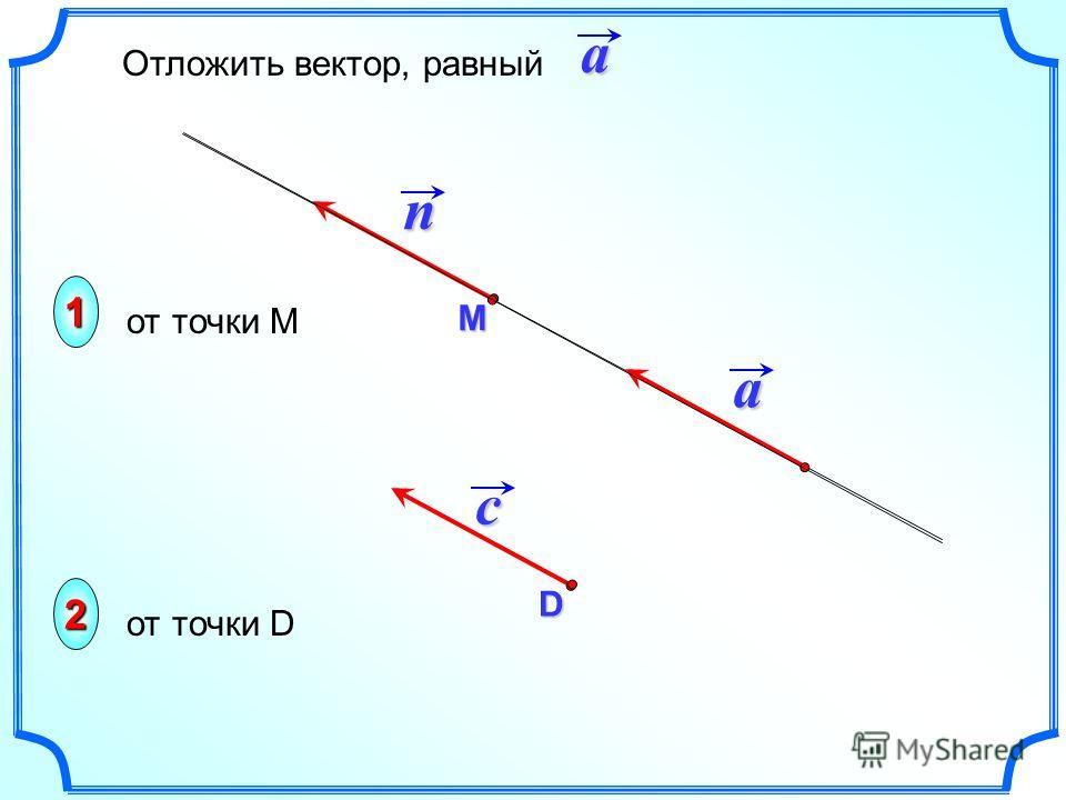 М a n c D Отложить вектор, равныйa1 2 от точки М от точки D