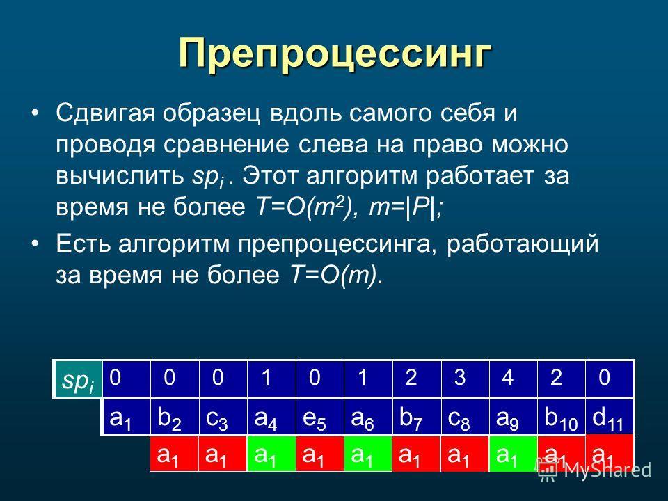 Препроцессинг Сдвигая образец вдоль самого себя и проводя сравнение слева на право можно вычислить sp i. Этот алгоритм работает за время не более T=O(m 2 ), m=|P|; Есть алгоритм препроцессинга, работающий за время не более T=O(m). d 11 b 10 a9a9 c8c8