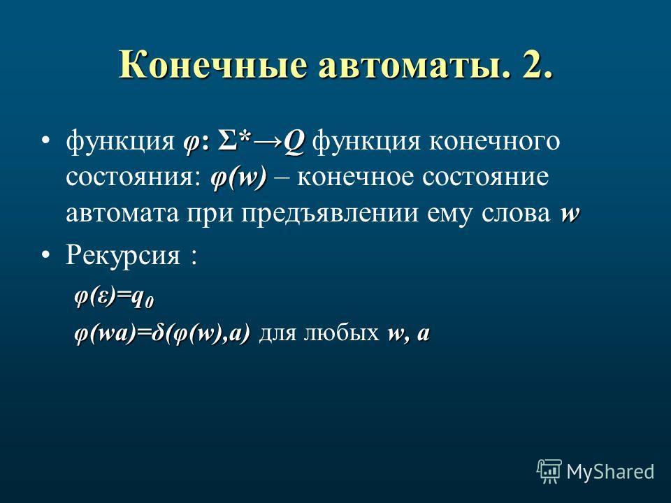 Конечные автоматы. 2. φ: Σ*Q φ(w) wфункция φ: Σ*Q функция конечного состояния: φ(w) – конечное состояние автомата при предъявлении ему слова w Рекурсия : φ(ε)=q 0 φ(wa)=δ(φ(w),a) w, a φ(wa)=δ(φ(w),a) для любых w, a