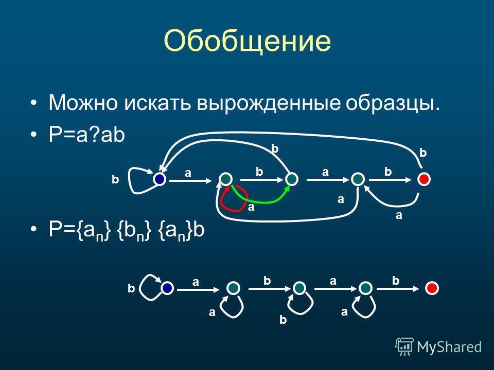 Обобщение Можно искать вырожденные образцы. P=a?ab P={a n } {b n } {a n }b a bab b a b a a b a bab b b a a