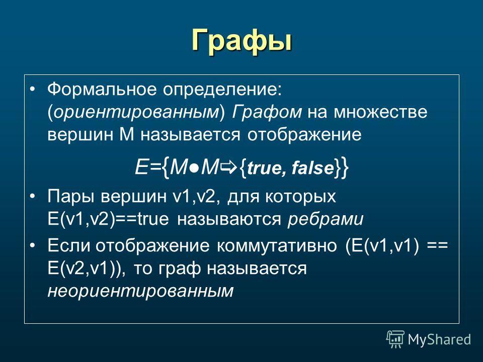 Графы Формальное определение: (ориентированным) Графом на множестве вершин M называется отображение E= { MM { true, false } } Пары вершин v1,v2, для которых E(v1,v2)==true называются ребрами Если отображение коммутативно (E(v1,v1) == E(v2,v1)), то гр