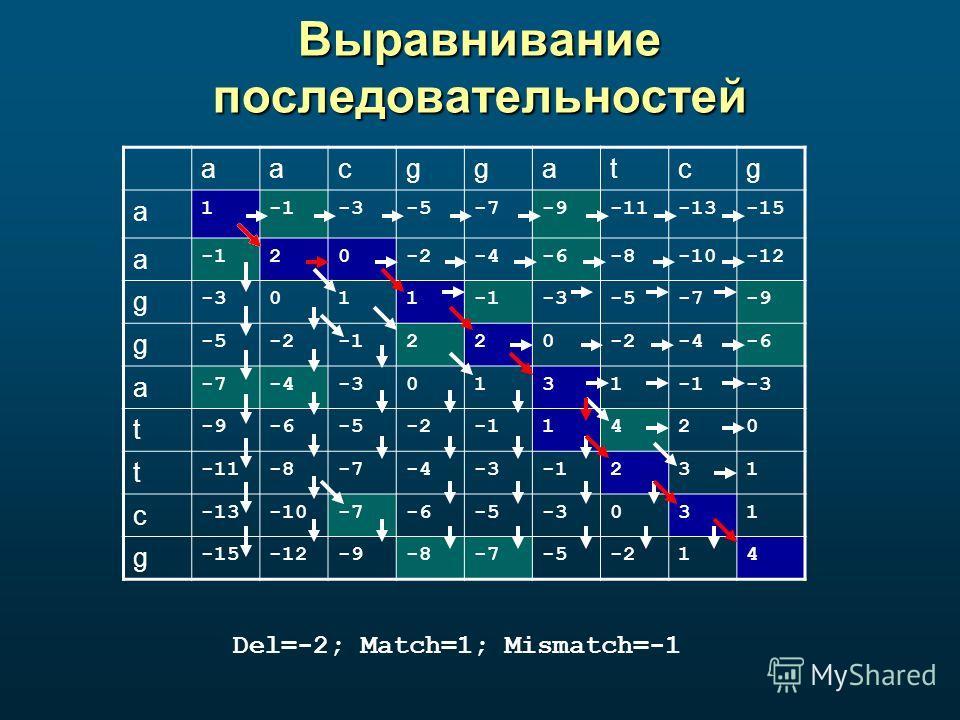 Выравнивание последовательностей Del=-2; Match=1; Mismatch=-1 aacggatcg a 1-3-5-7-9-11-13-15 a 20-2-4-6-8-10-12 g -3011-3-5-7-9 g -5-2220-2-4-6 a -7-4-30131-3 t -9-6-5-21420 t -11-8-7-4-3231 c -13-10-7-6-5-3031 g -15-12-9-8-7-5-214
