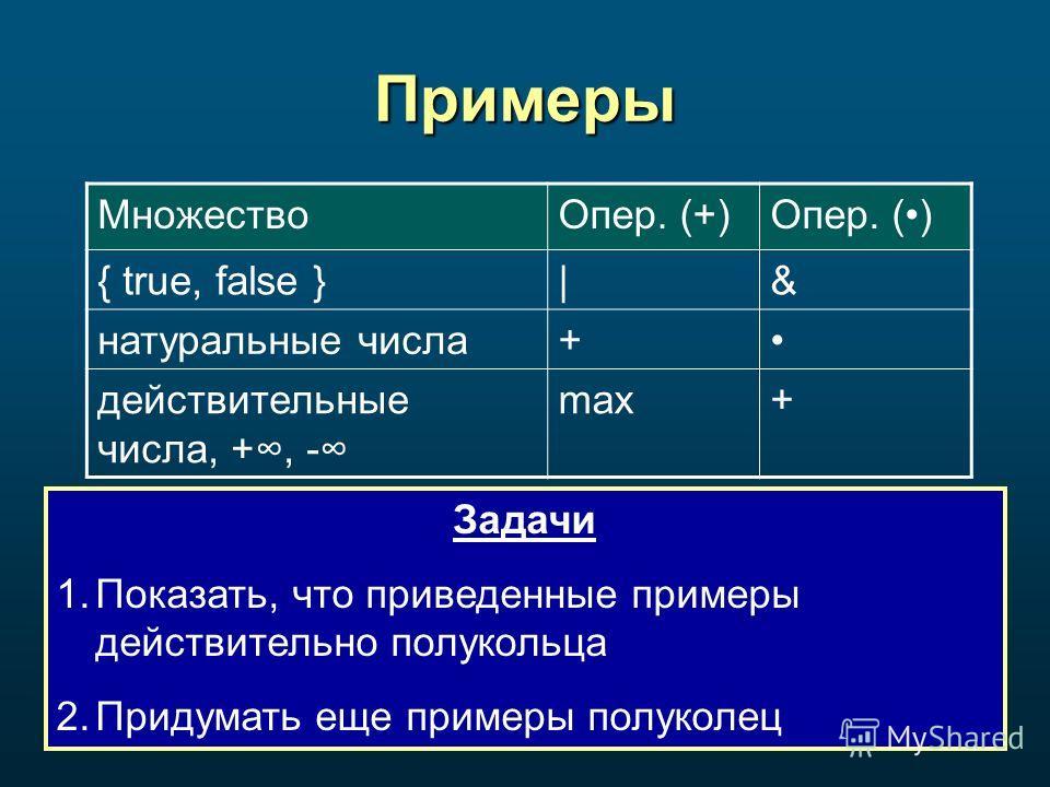 Примеры Задачи 1.Показать, что приведенные примеры действительно полукольца 2. Придумать еще примеры полуколец Множество Опер. (+)Опер. () { true, false }|& натуральные числа+ действительные числа, +, - max+