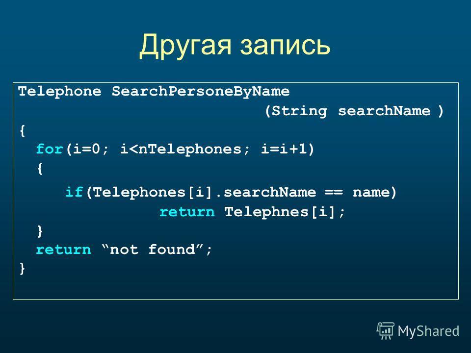 Другая запись Telephone SearchPersoneByName (String searchName ) { for(i=0; i