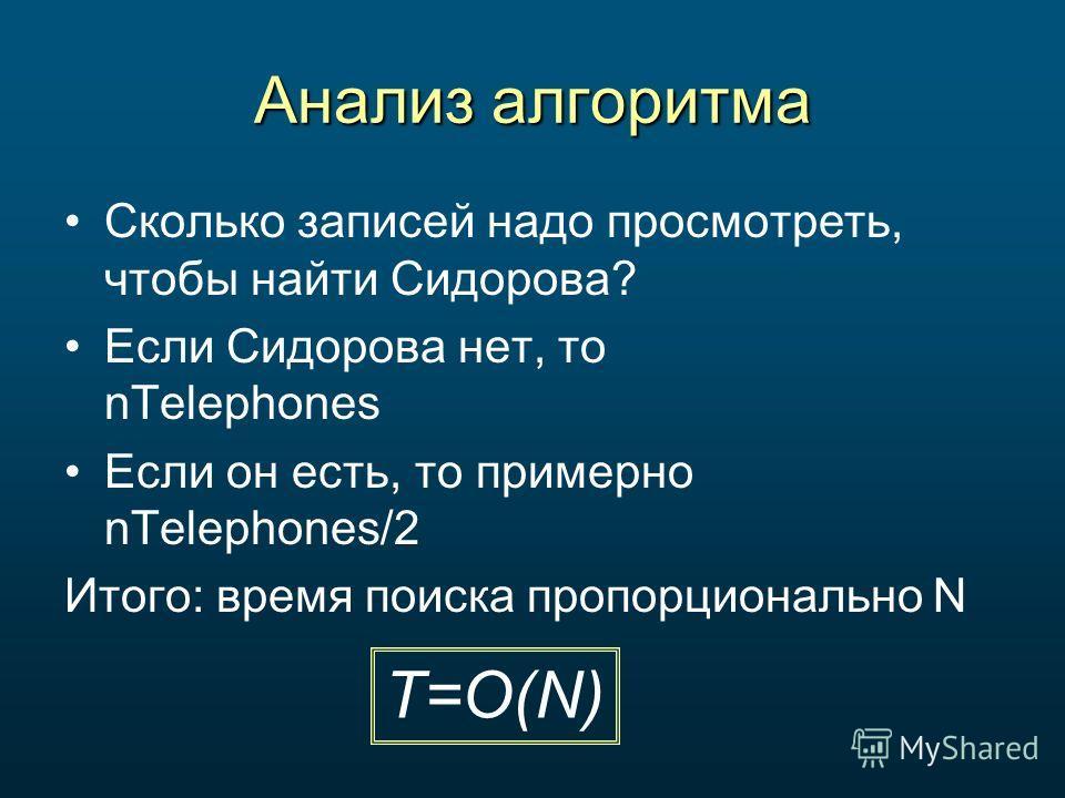 Анализ алгоритма Сколько записей надо просмотреть, чтобы найти Сидорова? Если Сидорова нет, то nTelephones Если он есть, то примерно nTelephones/2 Итого: время поиска пропорционально N T=O(N)