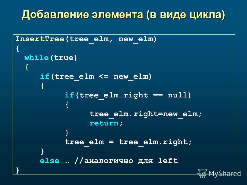 Добавление элемента (в виде цикла) InsertTree(tree_elm, new_elm) { while(true) { if(tree_elm