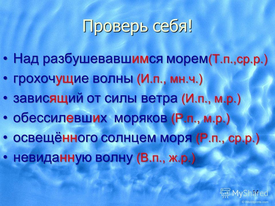 Объясните правописание: Над разбушевавш…ся морем ( ? )Над разбушевавш…ся морем ( ? ) грохот...щие волны ( ? )грохот...щие волны ( ? ) завис...щей от силы ветра ( ? )завис...щей от силы ветра ( ? ) обессильь...вш…х моряков ( ? )обессильь...вш…х моряко