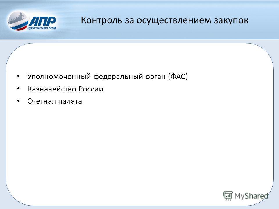 Контроль за осуществлением закупок Уполномоченный федеральный орган (ФАС) Казначейство России Счетная палата