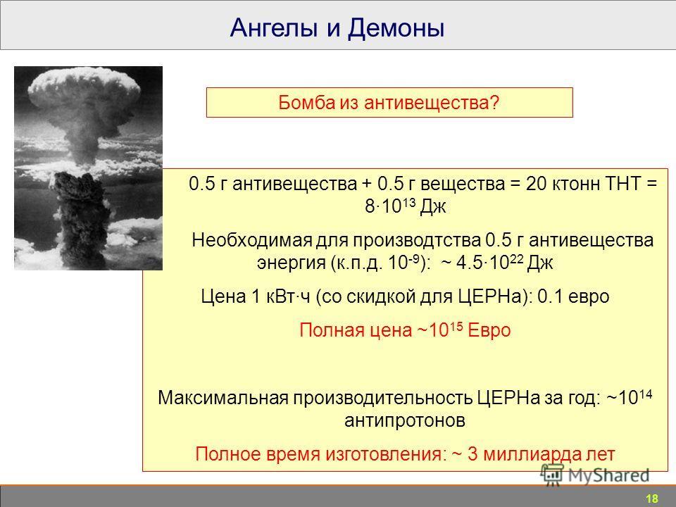 18 Ангелы и Демоны 0.5 г антивещества + 0.5 г вещества = 20 ктонн ТНТ = 8·10 13 Дж Необходимая для производства 0.5 г антивещества энергия (к.п.д. 10 -9 ): ~ 4.5·10 22 Дж Цена 1 к Вт·ч (со скидкой для ЦЕРНа): 0.1 евро Полная цена ~10 15 Евро Максимал