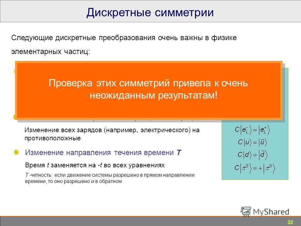 32 Дискретные симметрии В физике частиц : Пространственная четность P Отражение пространства относительно произвольного центра; Р-четность: нельзя определить, живем ли мы в