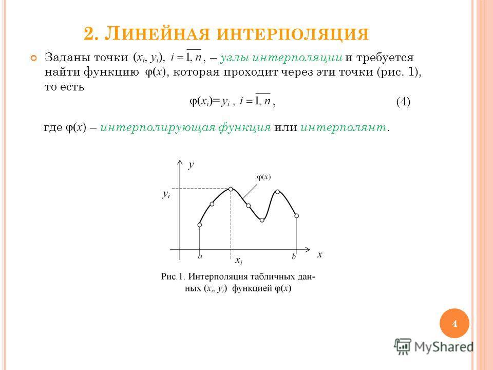 2. Л ИНЕЙНАЯ ИНТЕРПОЛЯЦИЯ Заданы точки, – узлы интерполяции и требуется найти функцию, которая проходит через эти точки (рис. 1), то есть, (4) где – интерполирующая функция или интерполянт. 4