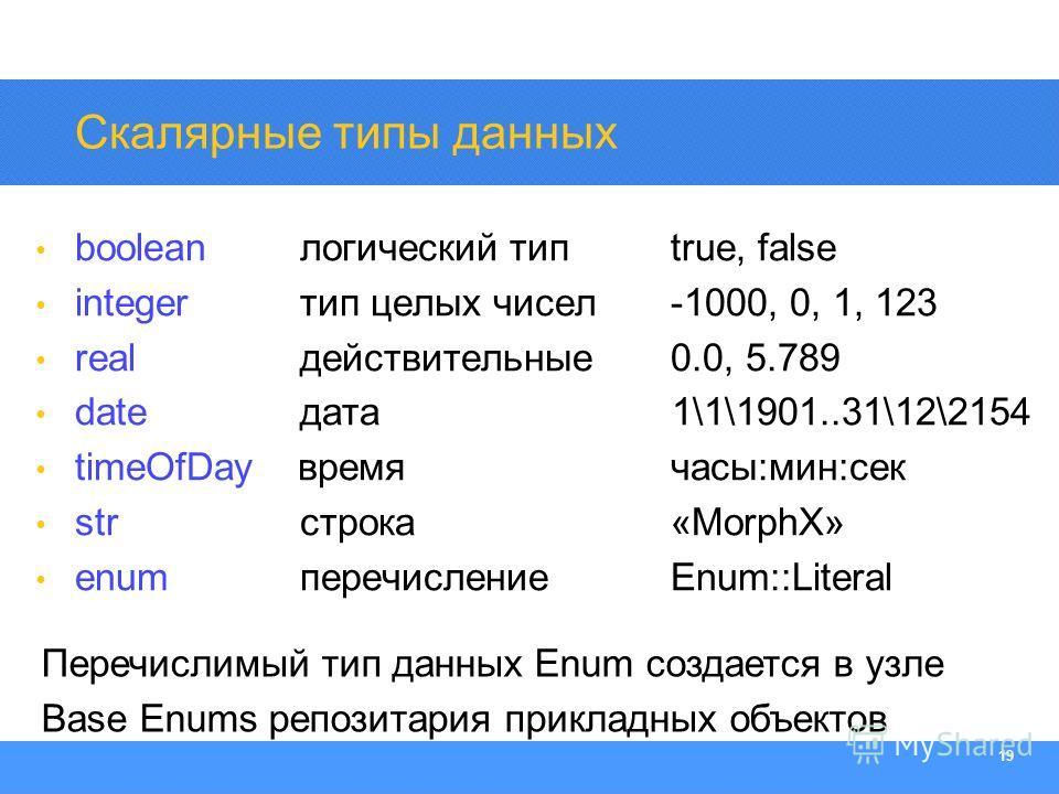 Section Heading 19 Скалярные типы данных boolean логический типtrue, false integer тип целых чисел-1000, 0, 1, 123 real действительные 0.0, 5.789 date дата 1\1\1901..31\12\2154 timeOfDay время часы:мин:сек str строка«MorphX» enum перечислениеEnum::Li