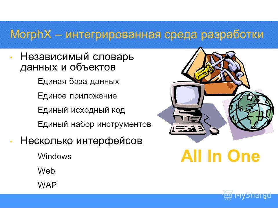 Section Heading 4 MorphX – интегрированная среда разработки Независимый словарь данных и объектов Единая база данных Единое приложение Единый исходный код Единый набор инструментов Несколько интерфейсов Windows Web WAP All In One