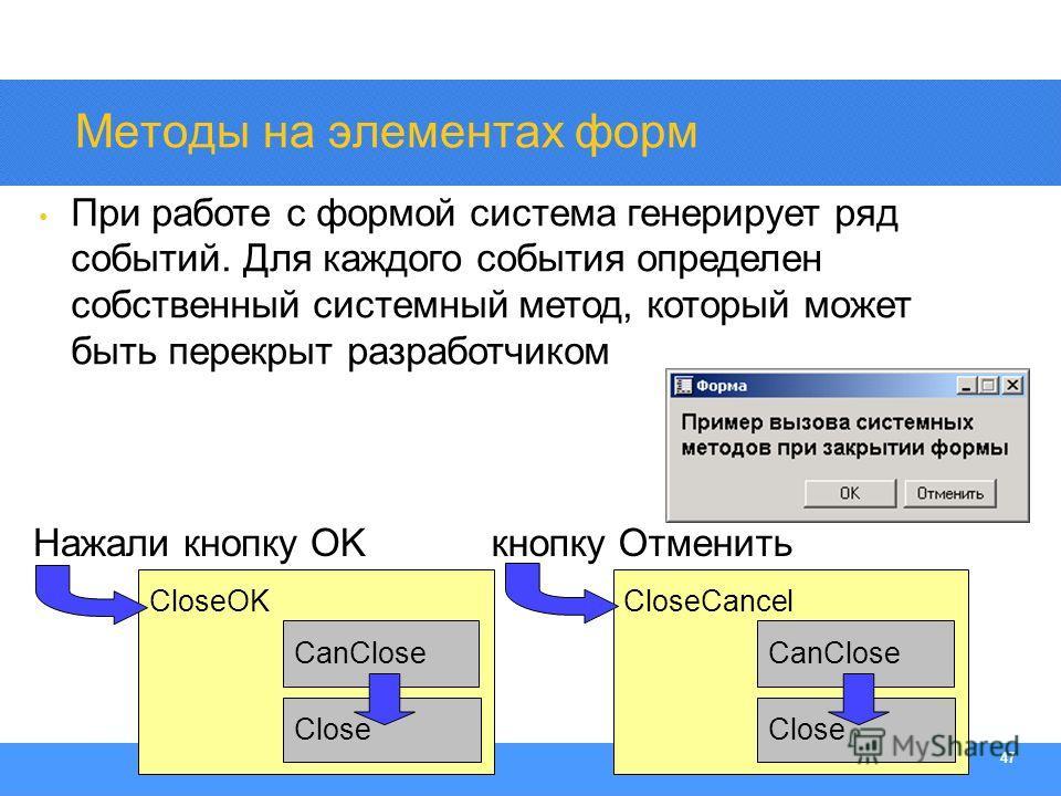Section Heading 47 CloseOK CanClose Методы на элементах форм При работе с формой система генерирует ряд событий. Для каждого события определен собственный системный метод, который может быть перекрыт разработчиком Close CloseCancel CanClose Close Наж
