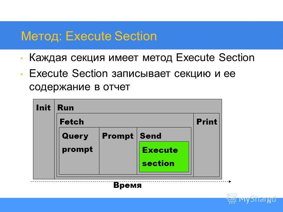 Section Heading 73 Метод: Execute Section Каждая секция имеет метод Execute Section Execute Section записывает секцию и ее содержание в отчет Init Время Run Fetch Query prompt PromptSend Print Execute section
