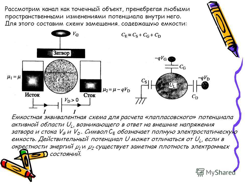 Рассмотрим канал как точечный объект, пренебрегая любыми пространственными изменениями потенциала внутри него. Для этого составим схему замещения, содержащую емкости: Емкостная эквивалентная схема для расчета «лапласовского» потенциала активной облас