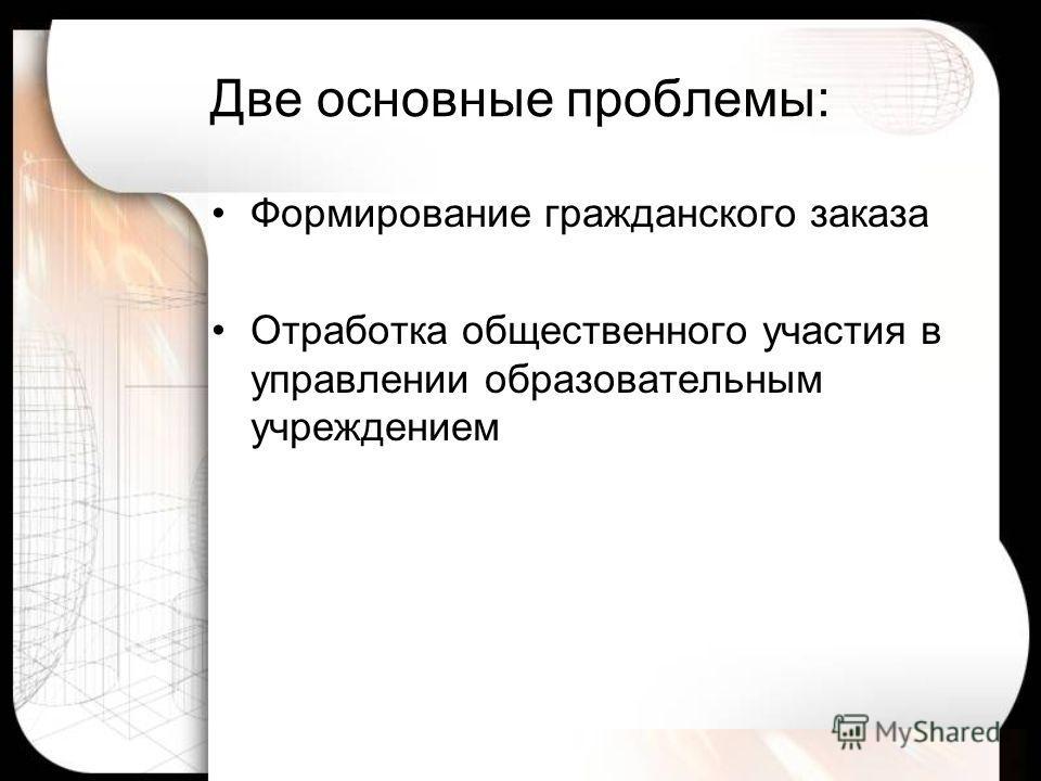 Две основные проблемы: Формирование гражданского заказа Отработка общественного участия в управлении образовательным учреждением