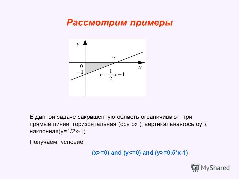 Рассмотрим примеры В данной задаче закрашенную область ограничивают три прямые линии: горизонтальная (ось ox ), вертикальная(ось oy ), наклонная(y=1/2 х-1) Получаем условие: (x>=0) and (y =0.5*x-1)