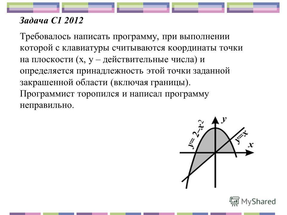 Задача С1 2012 Требовалось написать программу, при выполнении которой с клавиатуры считываются координаты точки на плоскости (x, y – действительные числа) и определяется принадлежность этой точки заданной закрашенной области (включая границы). Програ
