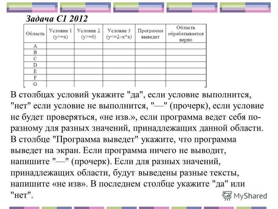 Задача С1 2012 В столбцах условий укажите