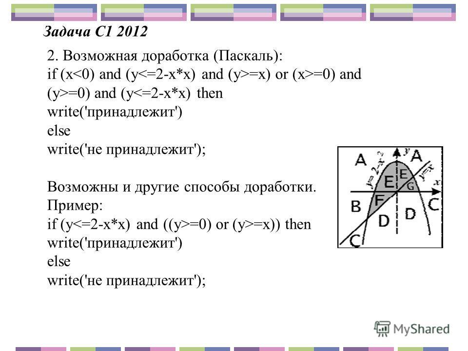 2. Возможная доработка (Паскаль): if (x =x) or (x>=0) and (y>=0) and (y=x)) then write('принадлежит') else write('не принадлежит');