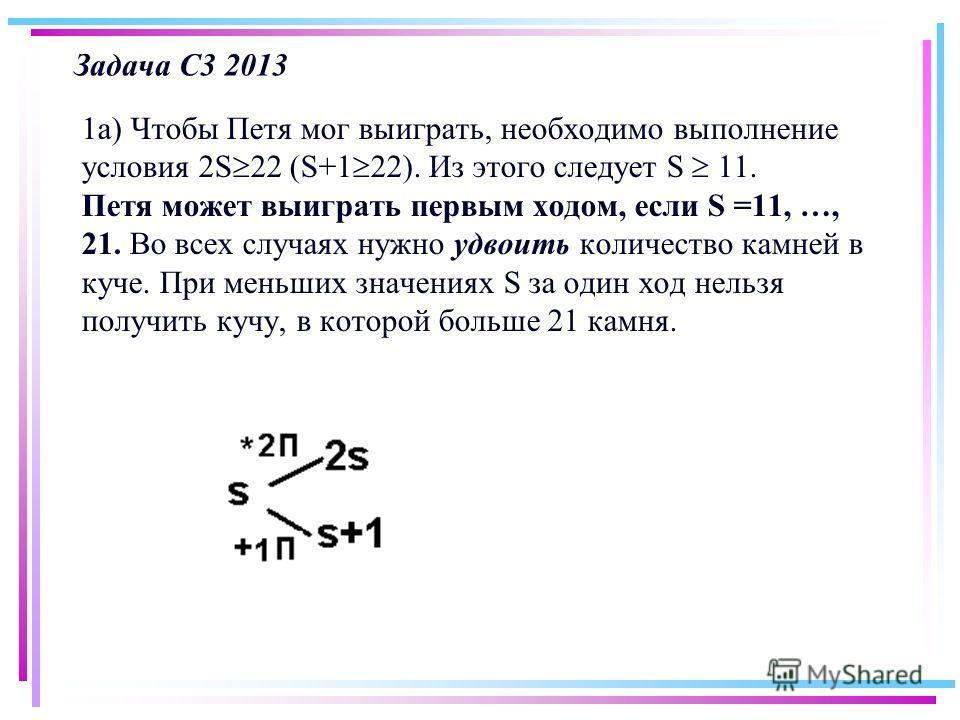 Задача С3 2013 1 а) Чтобы Петя мог выиграть, необходимо выполнение условия 2S 22 (S+1 22). Из этого следует S 11. Петя может выиграть первым ходом, если S =11, …, 21. Во всех случаях нужно удвоить количество камней в куче. При меньших значениях S за